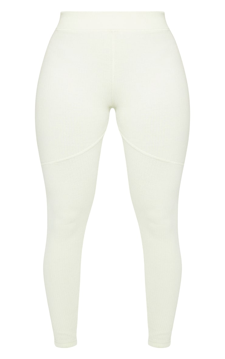 Shape Cream Washed Rib Panelled Leggings 6
