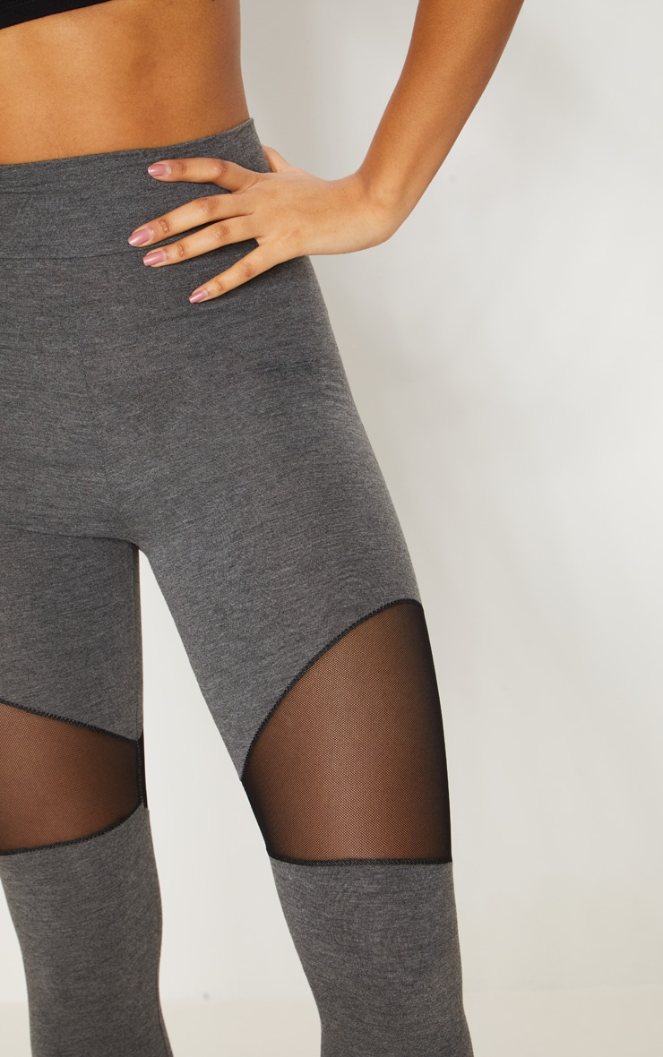 Grey Mesh Panel Jersey Legging  5
