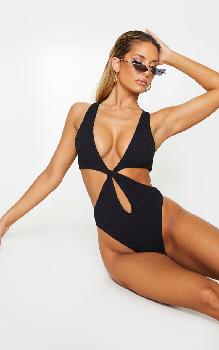 Black Crinkle Cut Out Twist Swimsuit 1