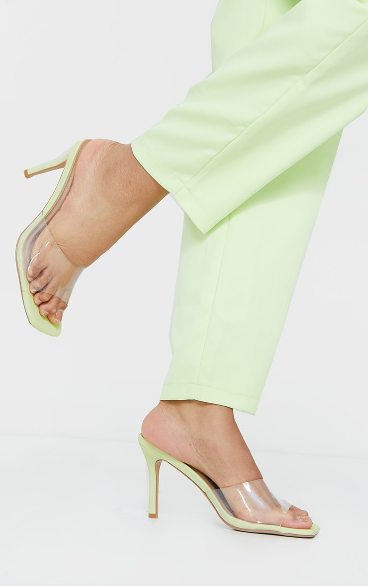 Lime Clear Strap Square Toe Mule Mid Heels 1