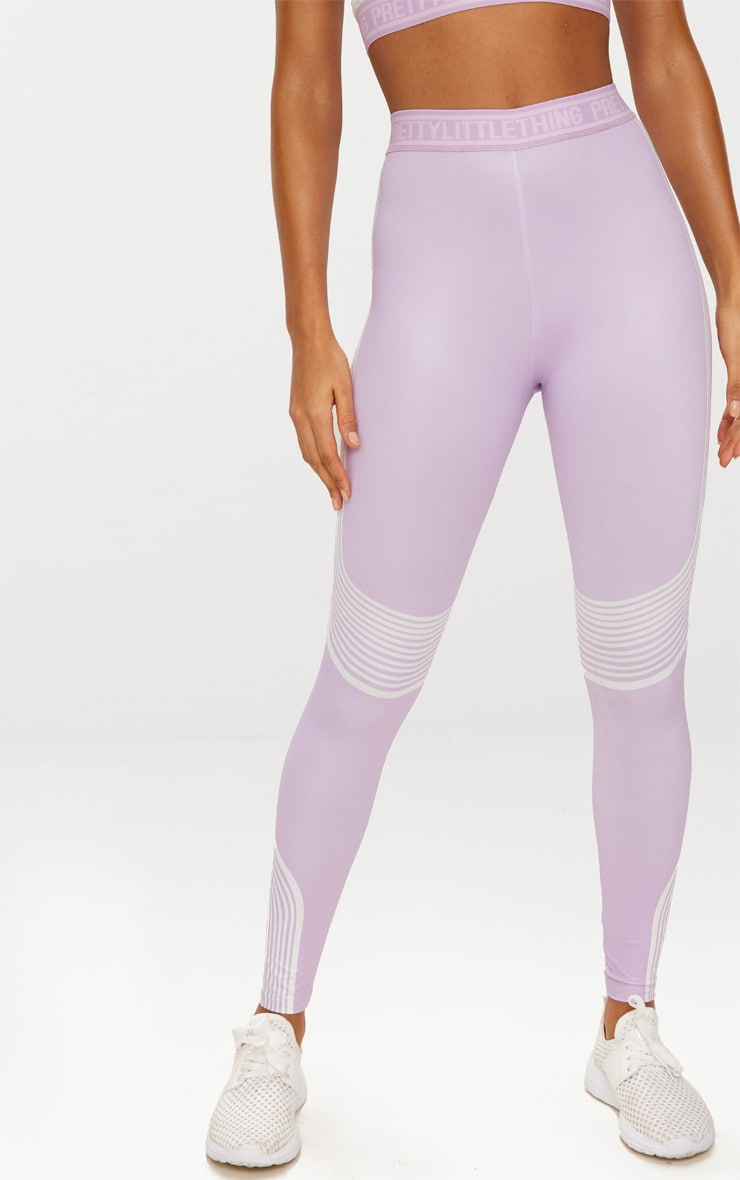 PRETTYLITTLETHING Lilac Contour Stripe Leggings 2