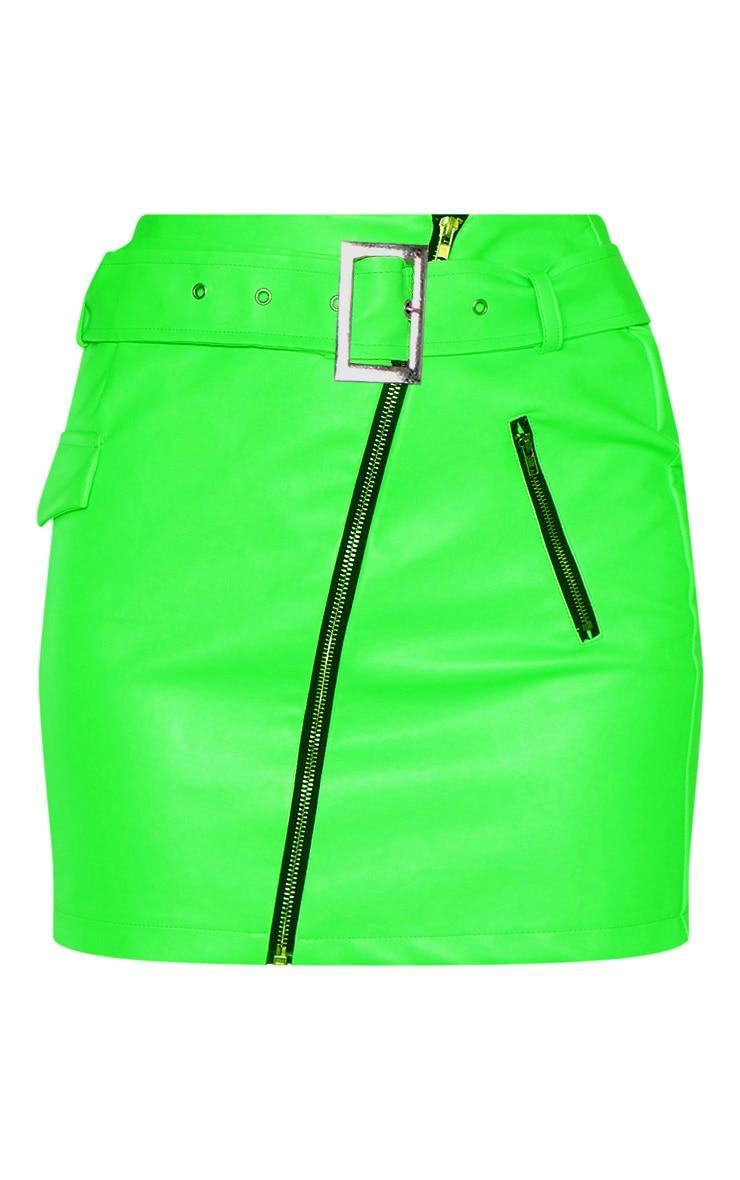 Tall Neon Green Belt Detail Pu Mini Skirt 3