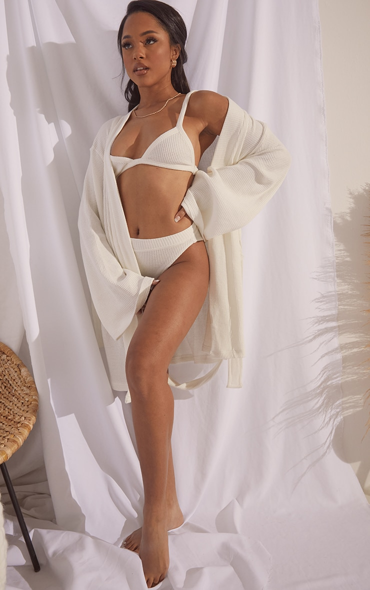 White Soft Waffle Dressing Gown 3