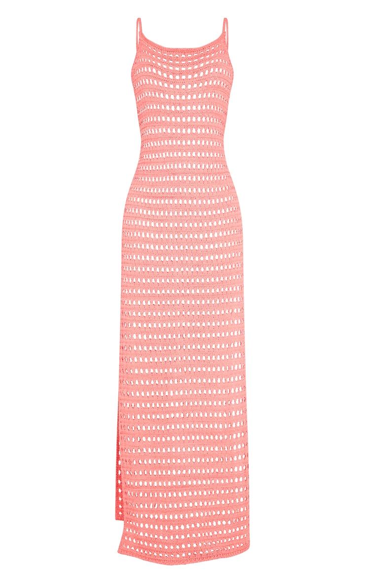 Tall Coral Crochet High Split Maxi Dress 5