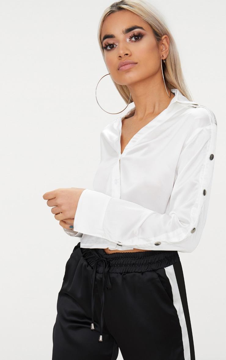 White Satin Popper Sleeve Crop Shirt