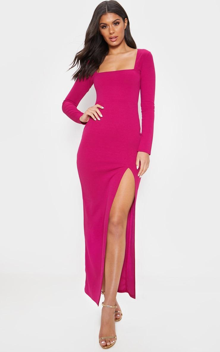 Hot Pink Square Neck Split Leg Maxi Dress 1