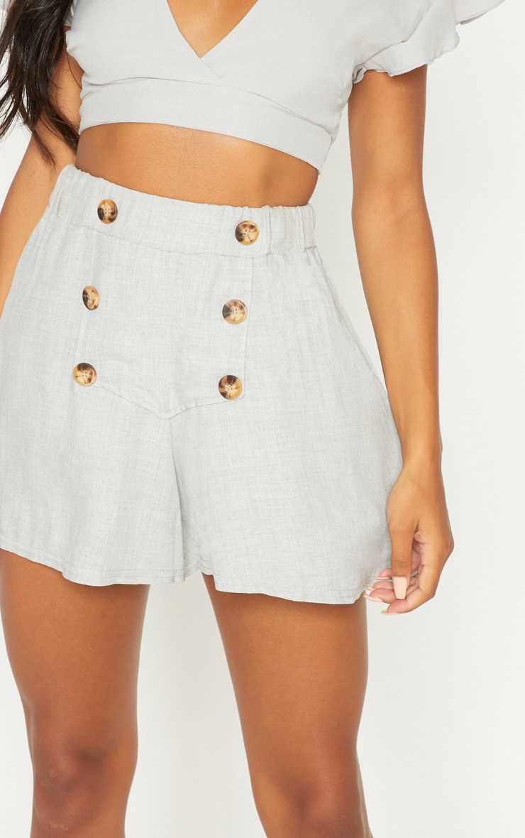 Pale Grey Button Front Linen Feel Floaty Short 6