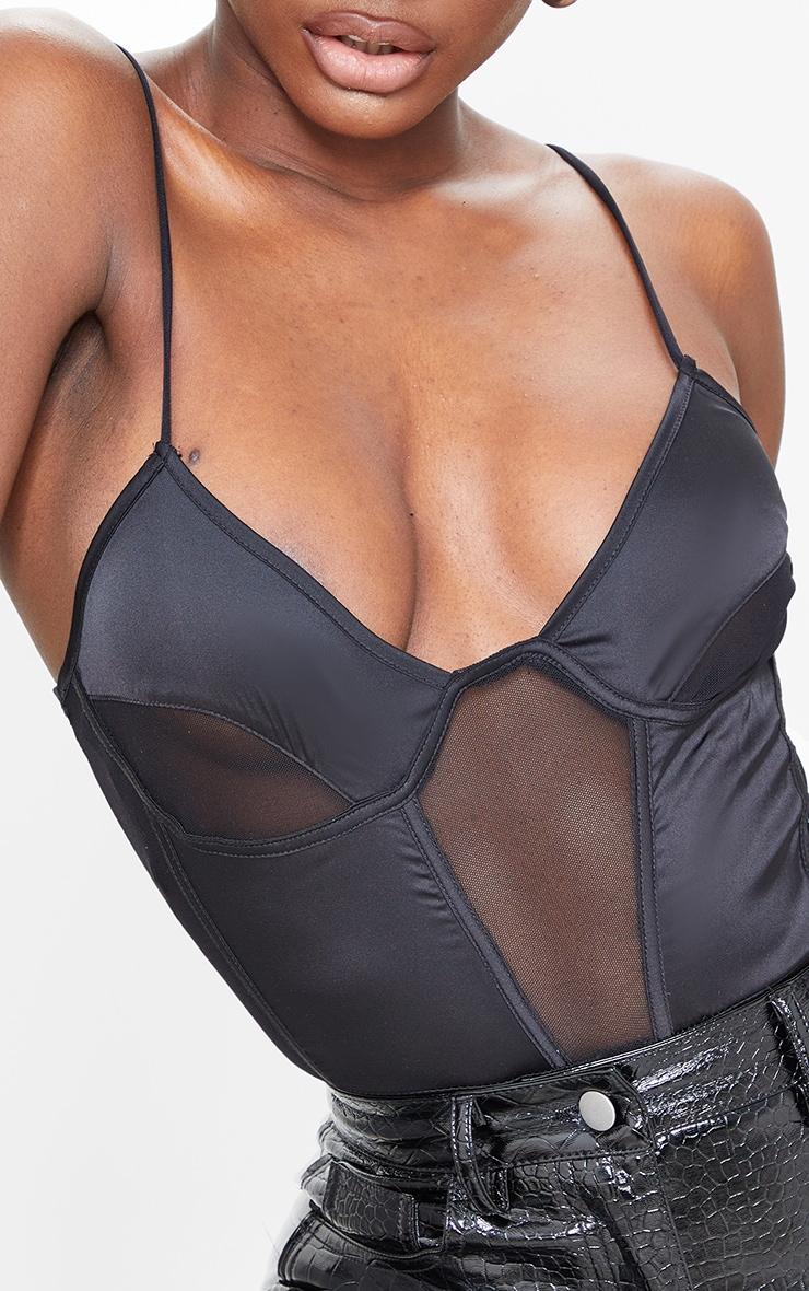 Tall Black Mesh Detailing Strappy Bodysuit 4