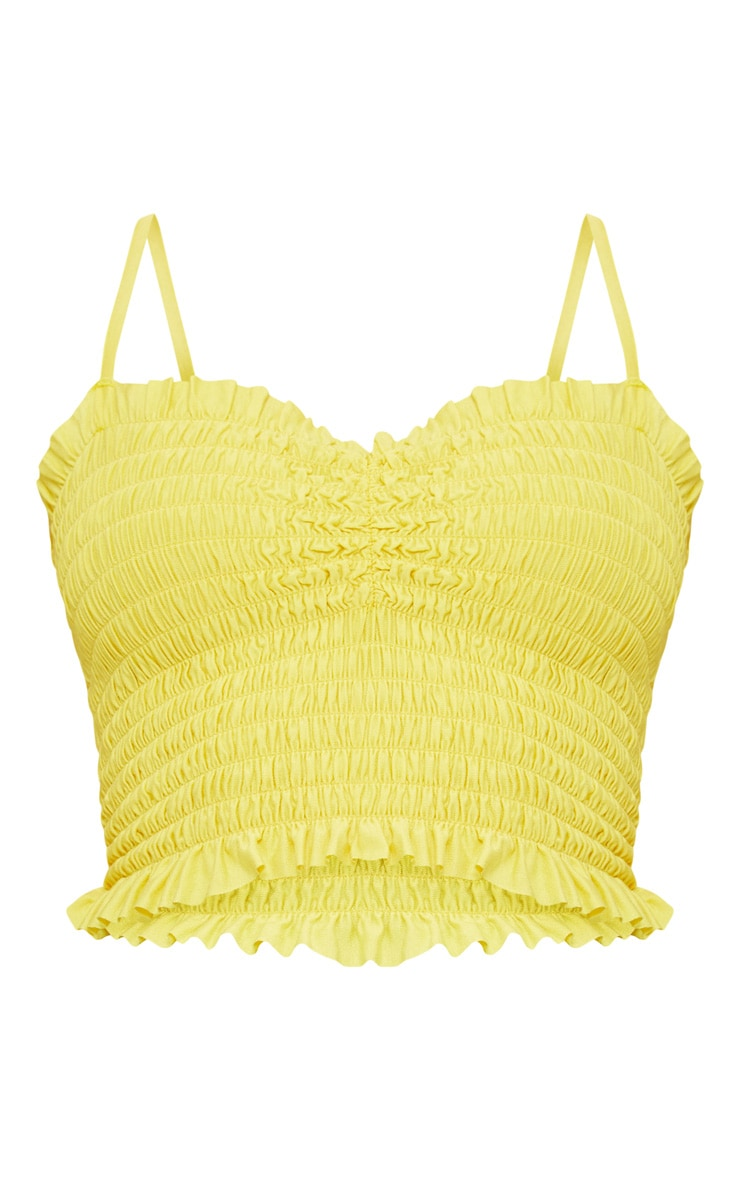 Yellow Shirred Strappy Crop Top 3