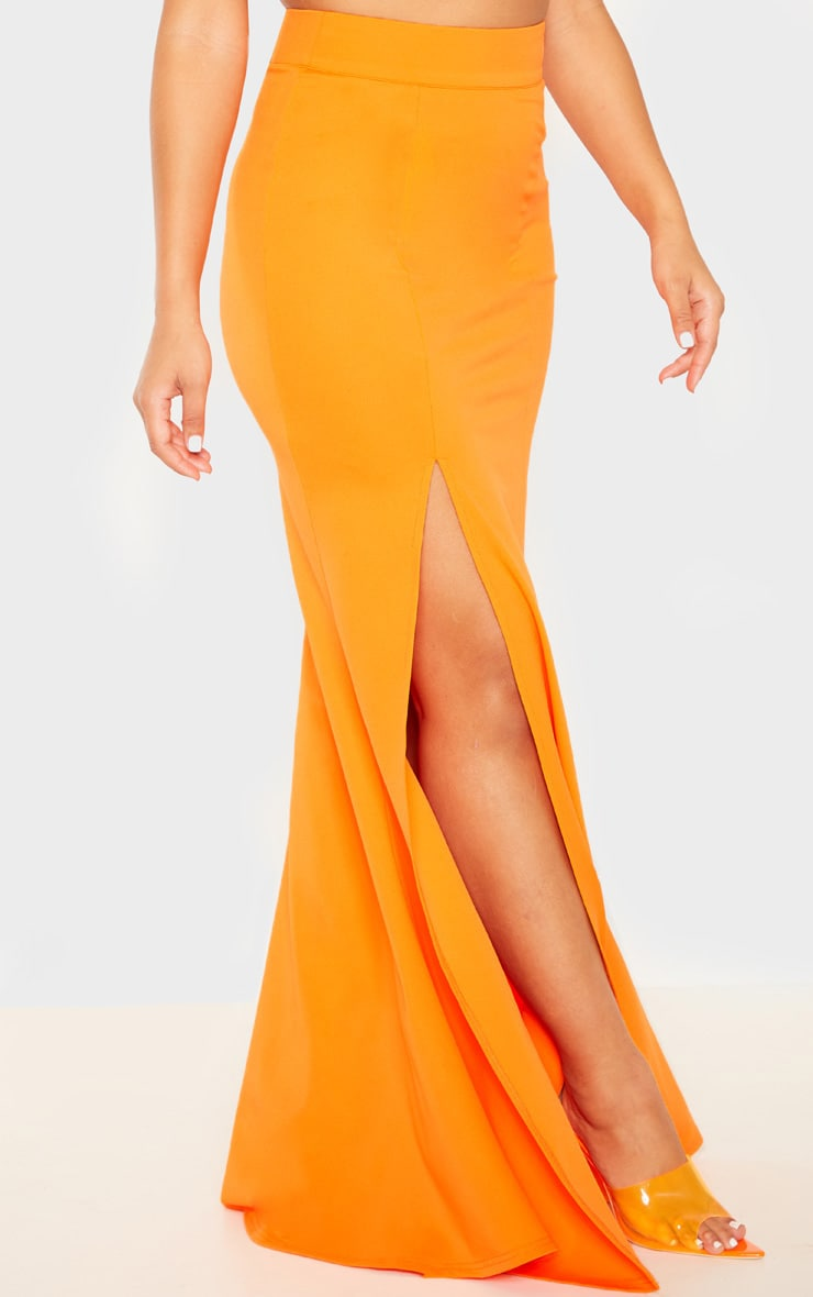 Orange Thigh Split Maxi Skirt 2