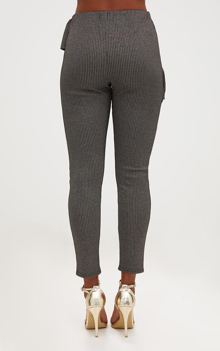 Black Metallic Tweed Frill Detail Skinny Trousers 4