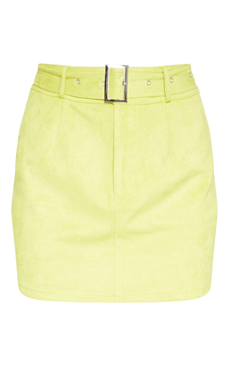 Lime Green Bonded Suede High Waisted Skirt  4