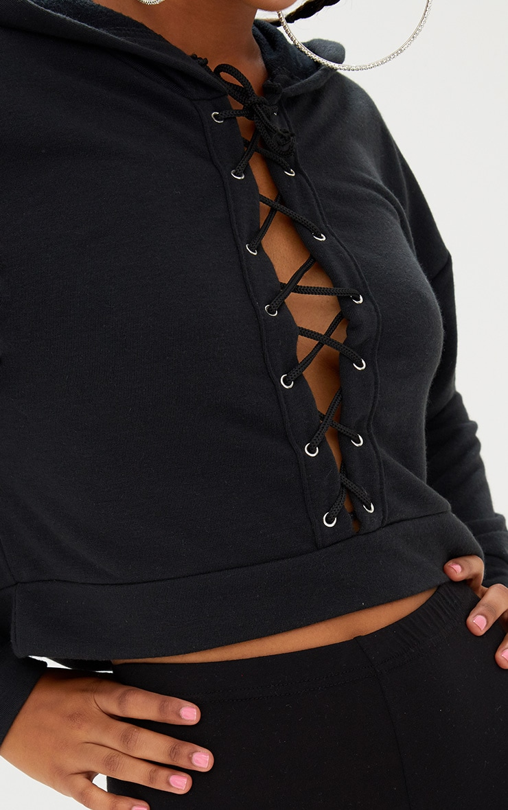 Black Lace Up Front Cropped Hoodie  5