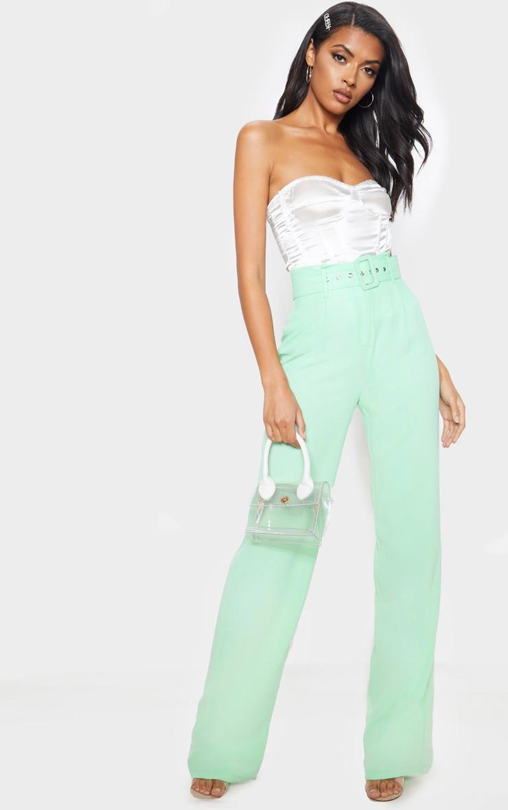 Mint Lightweight Woven Belted Wide Leg Trouser 1