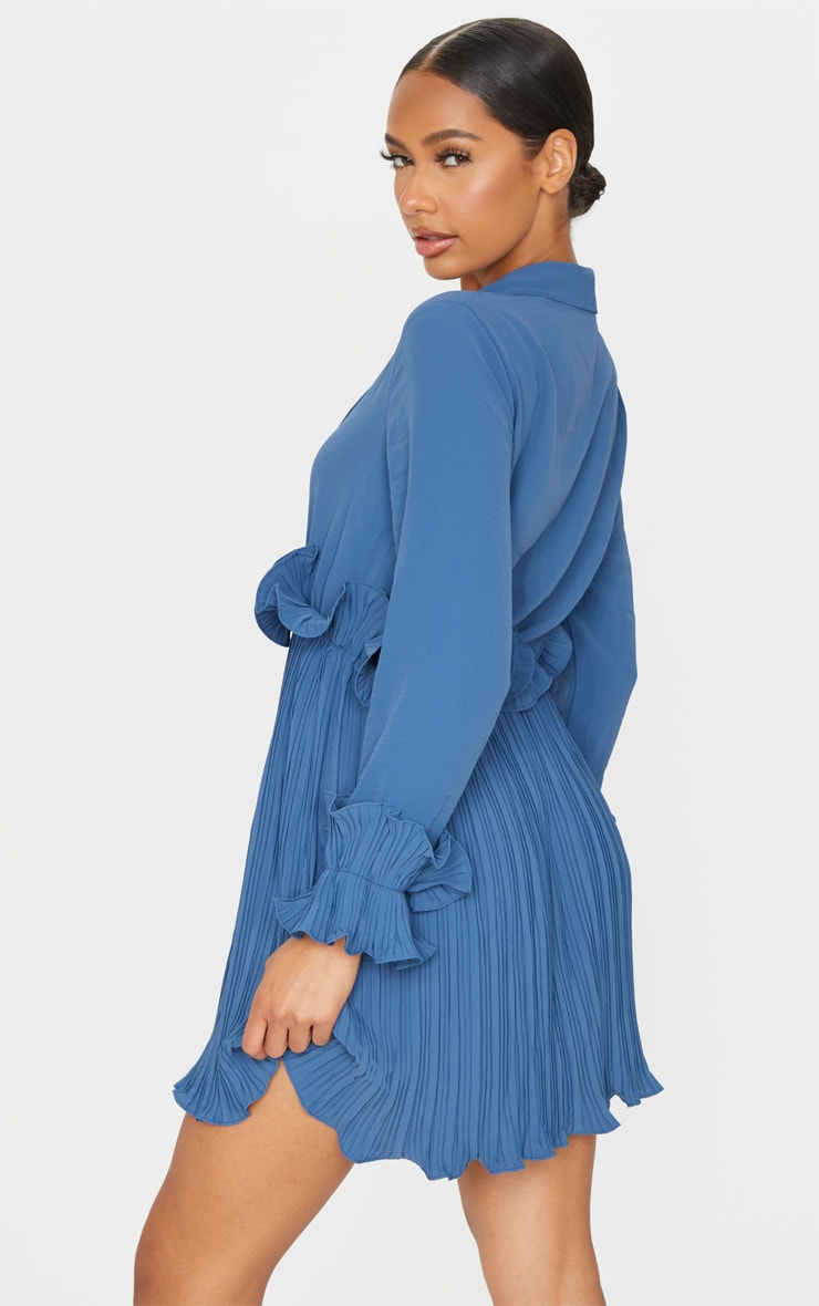 Steel Blue Long Sleeve Pleated Skater Dress 2