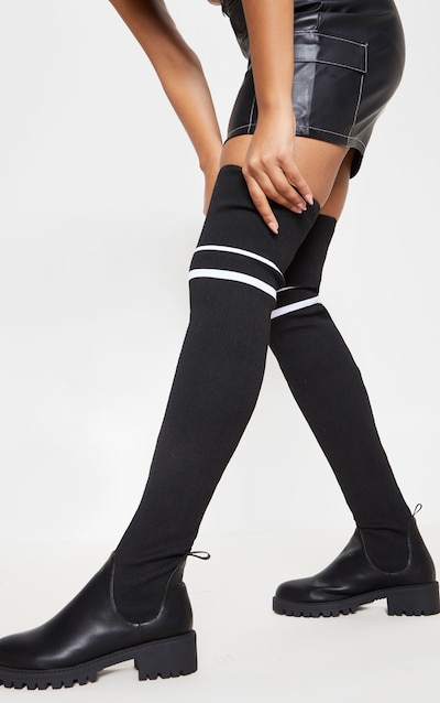 a08df6372b9 Black Thigh High Point Toe Sock Boot