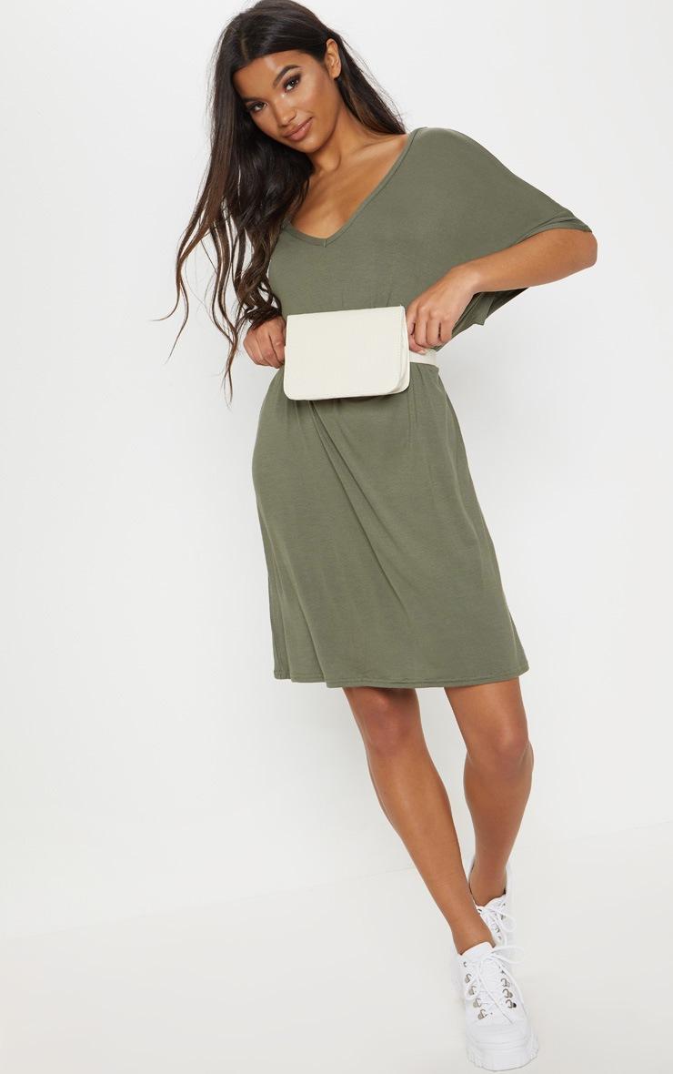 Basic Khaki V Neck T Shirt Dress 4