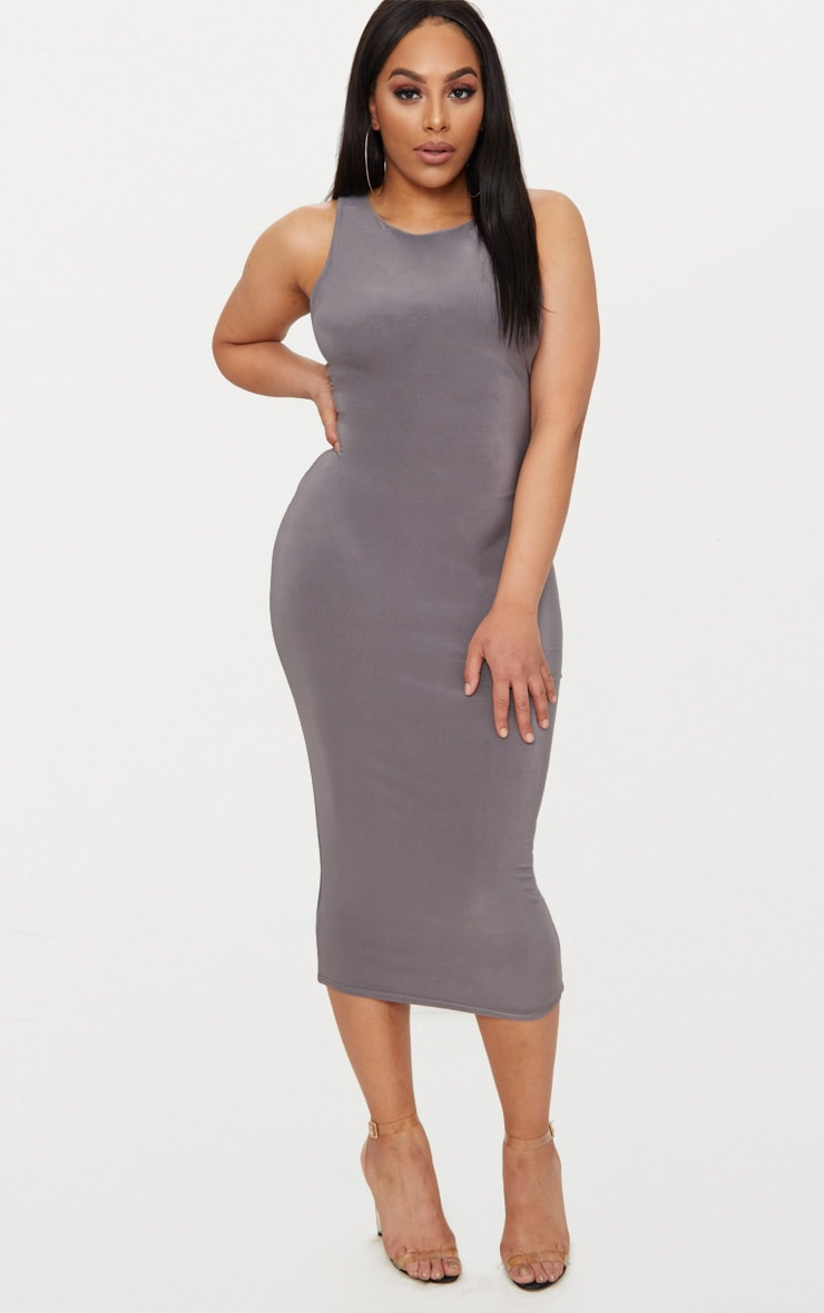 Plus Charcoal Grey Second Skin Slinky Racer Neck Midaxi Dress 4