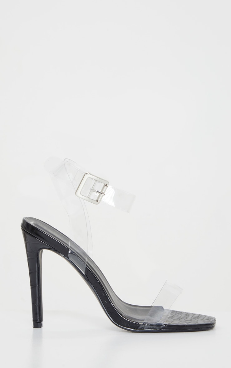 Black Croc Clear Strap Square Toe Heeled Sandal 3