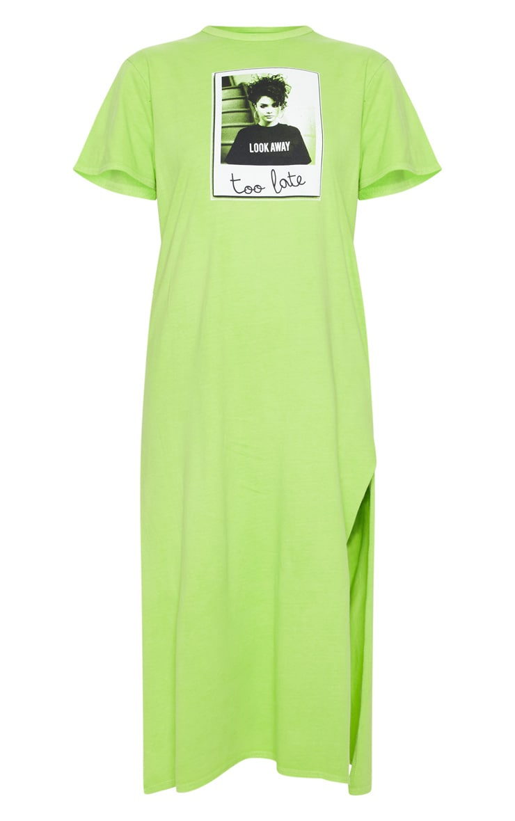 Washed Lime Too Late Slogan Oversized Midi Dress 3