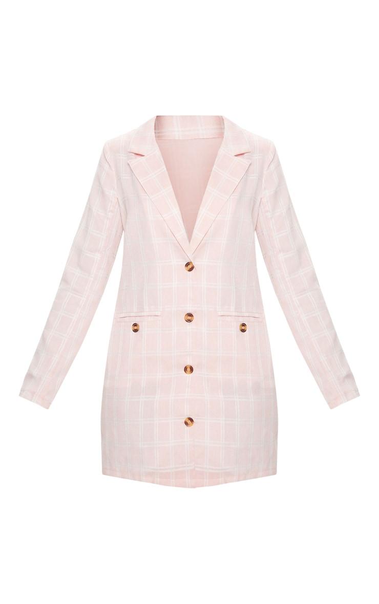 Pink Check Print Tortoise Button Blazer Dress 3