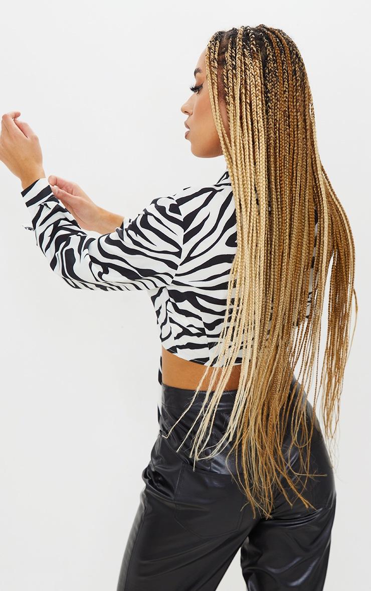 Zebra Print Sheer Tie Front Crop Shirt 3