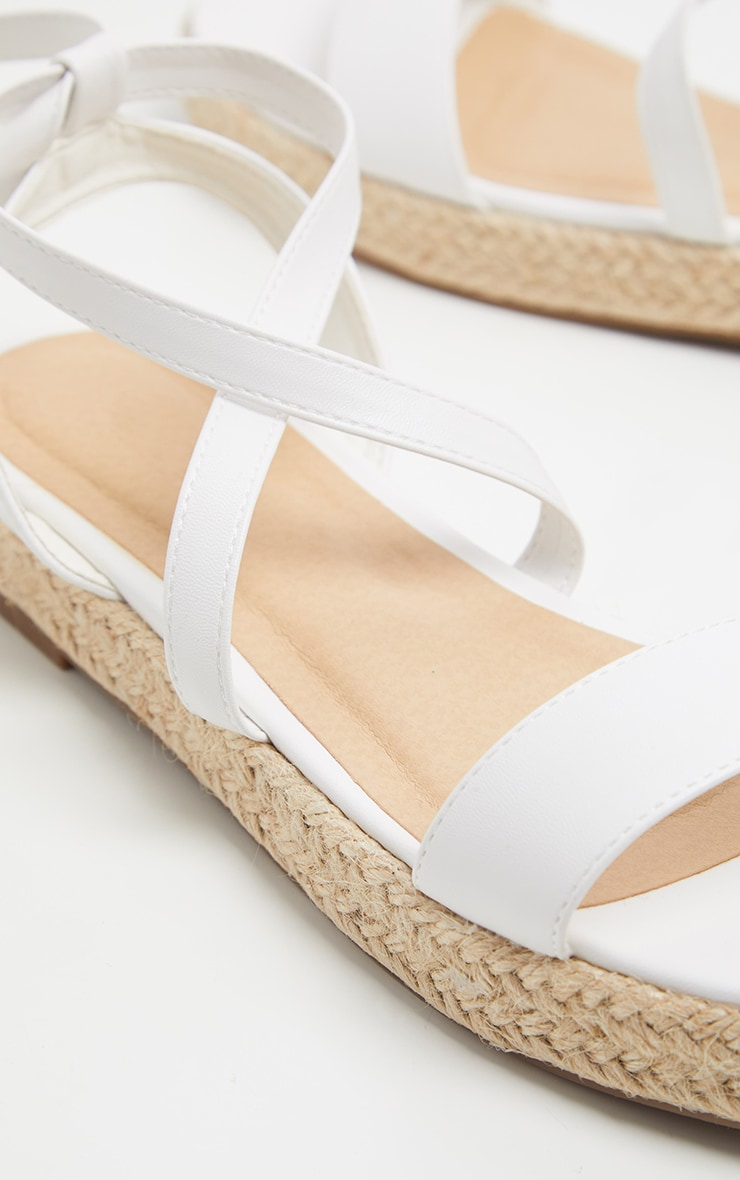 White Lace Up Espadrille Flatform Sandal 4