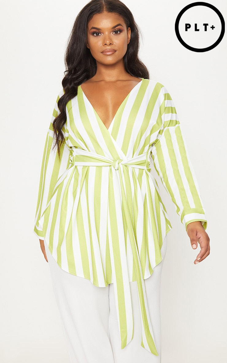 Plus Lime Striped Tie Waist Blouse