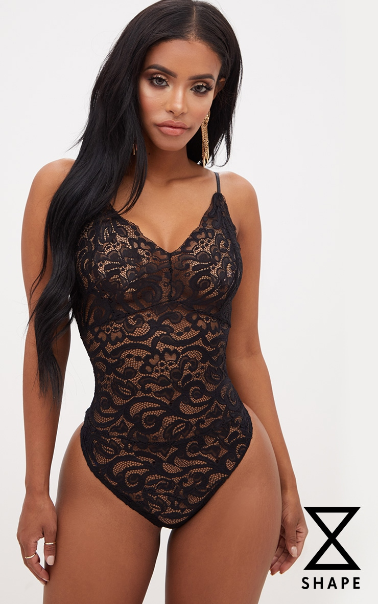Shape Black Sheer Lace Bodysuit 1