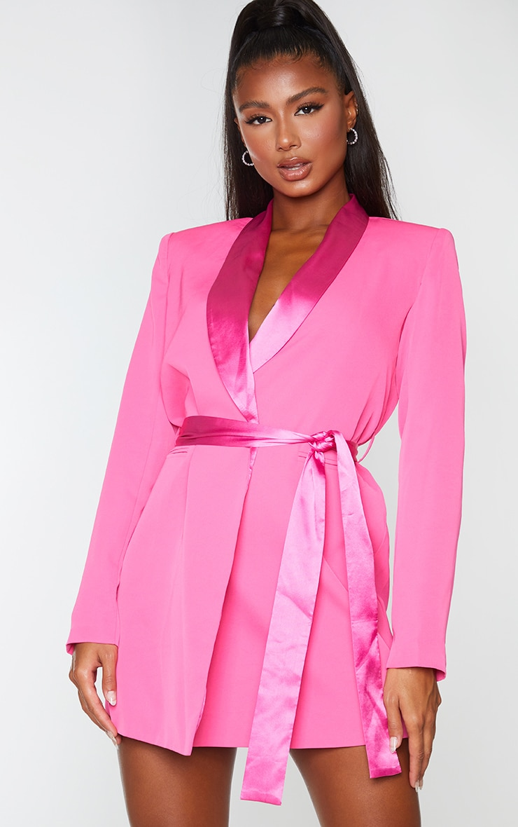 Pink Satin Lepel Tie Waist Blazer Dress 1
