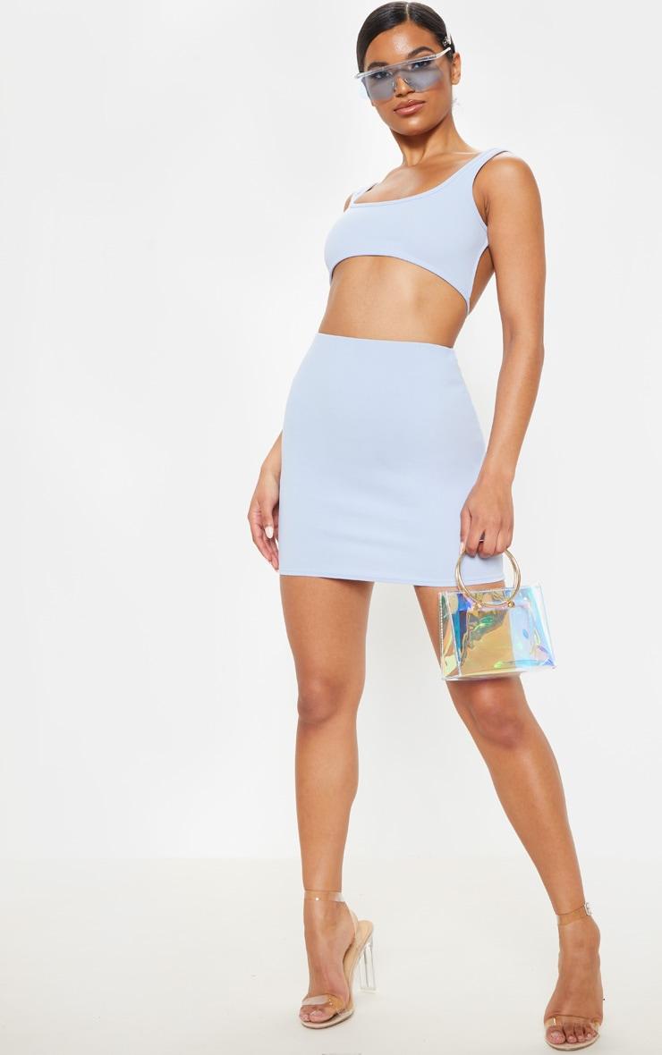 Light Blue Crepe Bodycon Skirt 5