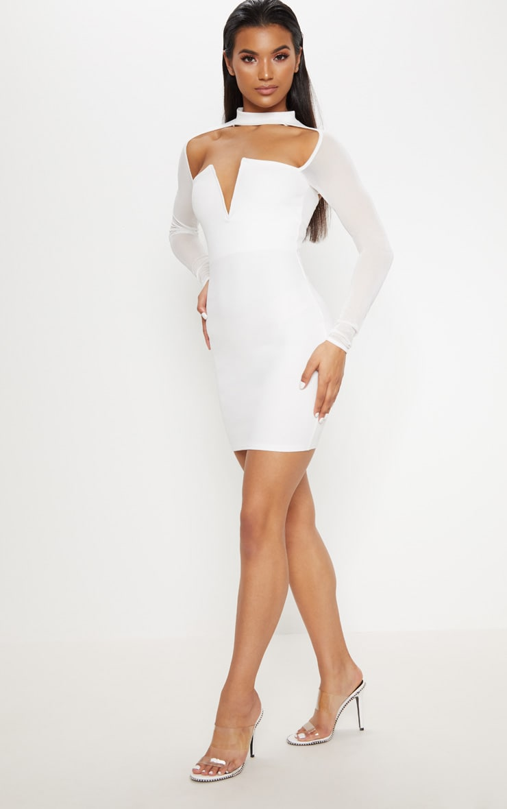 White Choker Neck Mesh Sleeve V Plunge Bodycon Dress 1