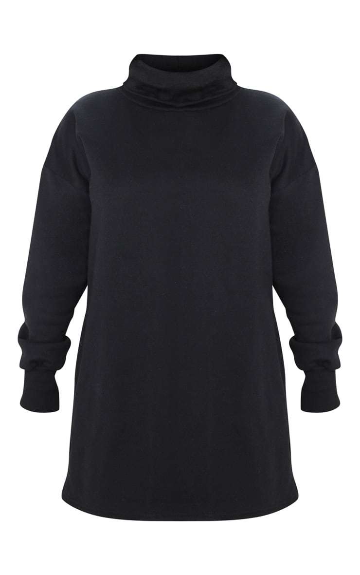 Petite - Robe pull oversize noire à col roulé 3