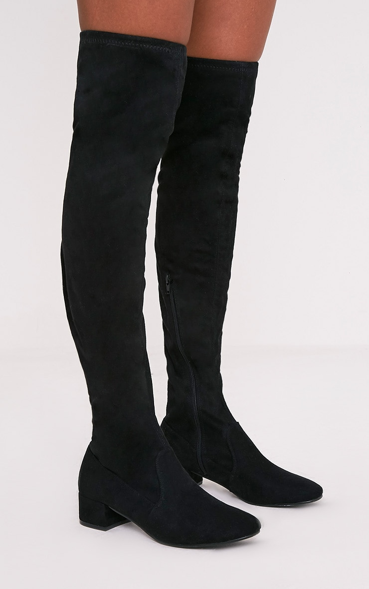 Esmay Black Faux Suede Thigh High Boots 1