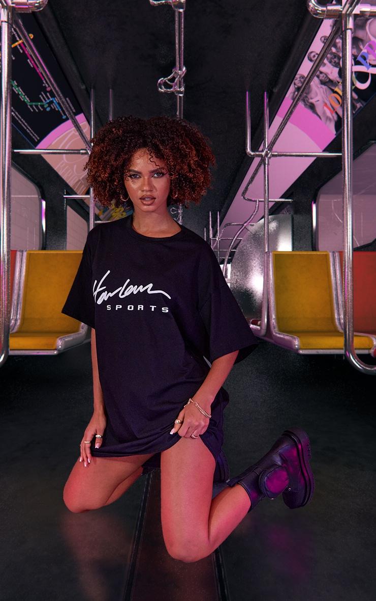 Black Graphic Print Oversized T Shirt Dress 5