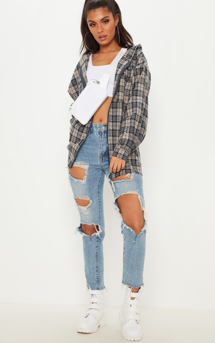 Stone Oversized Flannel Checked Shirt  4