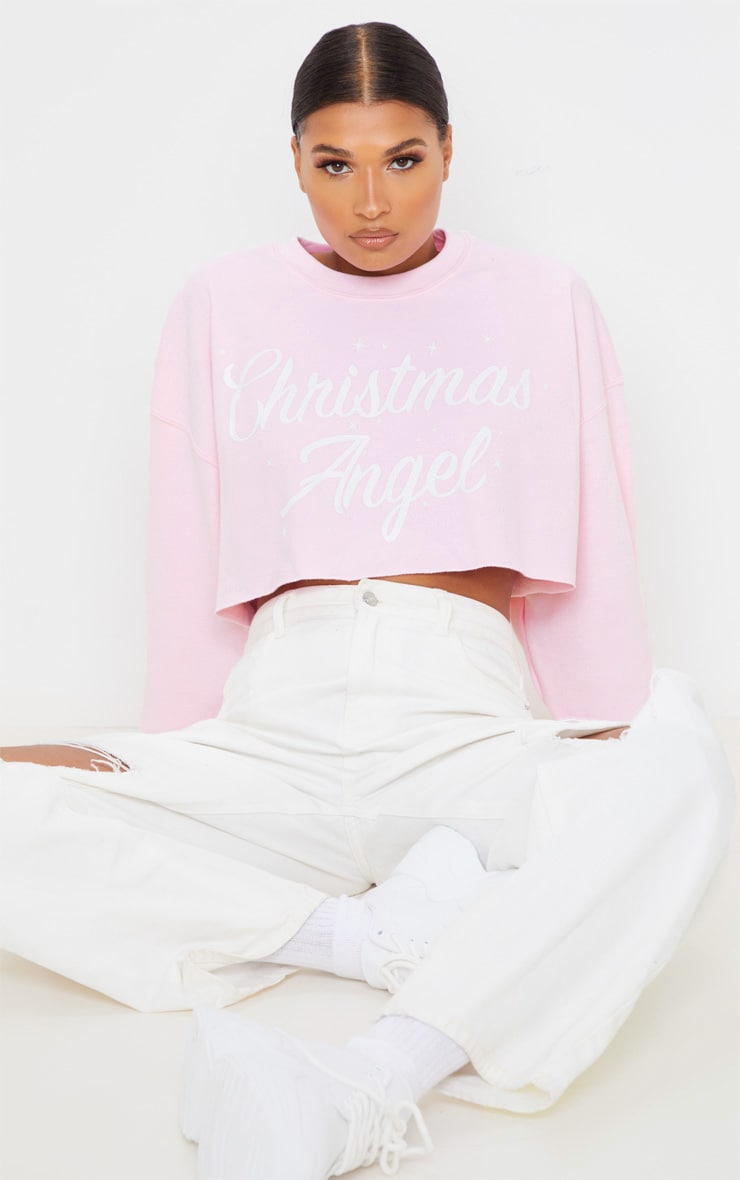 Light Pink Christmas Angel Cropped Sweatshirt 1