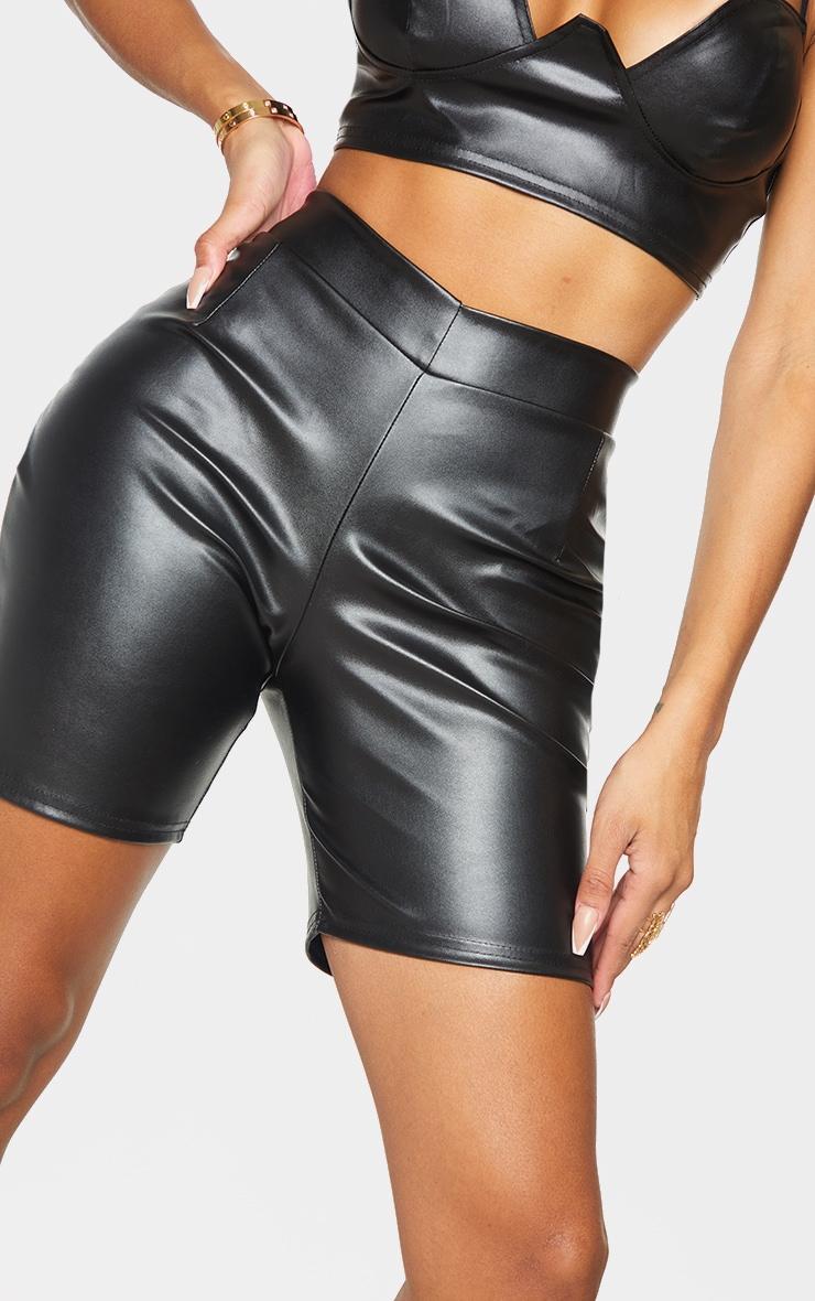 Shape Black PU V front Bike Shorts 5