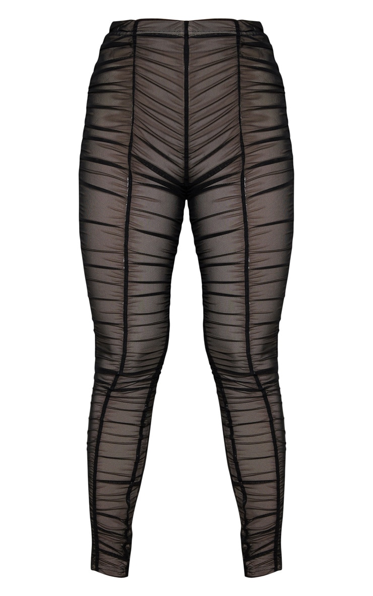 Black Ruched Mesh Layered Trouser 3