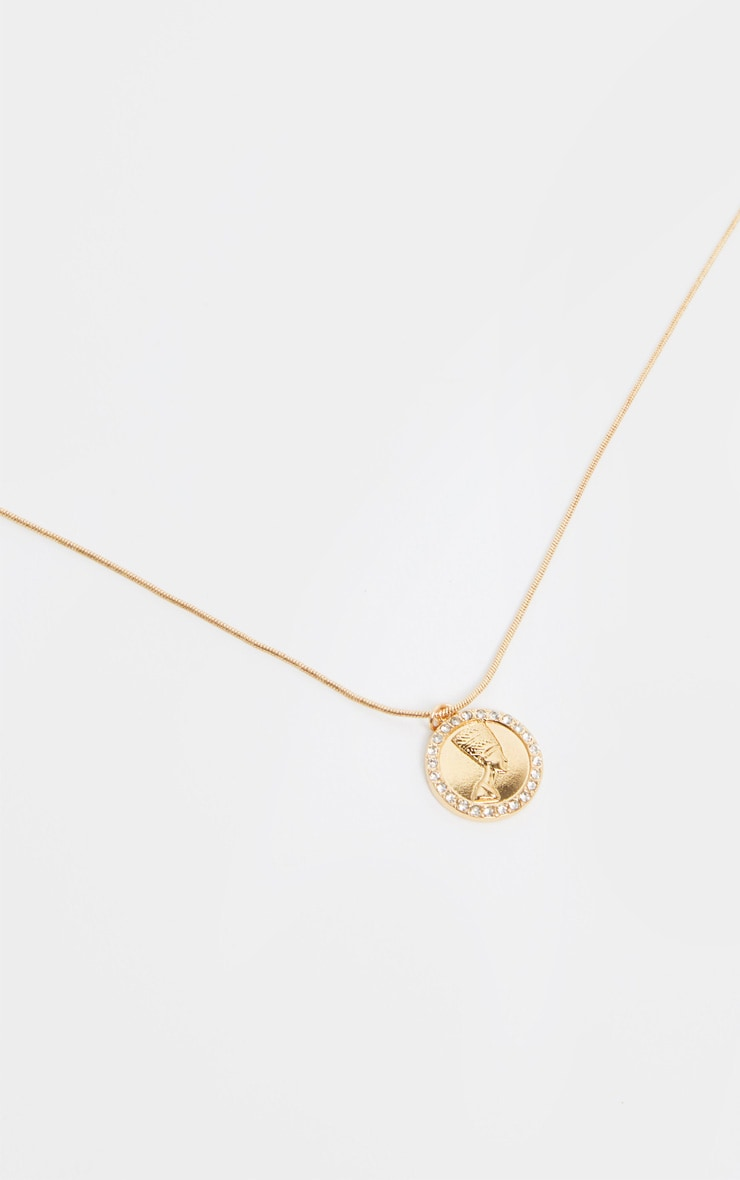 Gold Diamante Nefertiti Coin Necklace 4