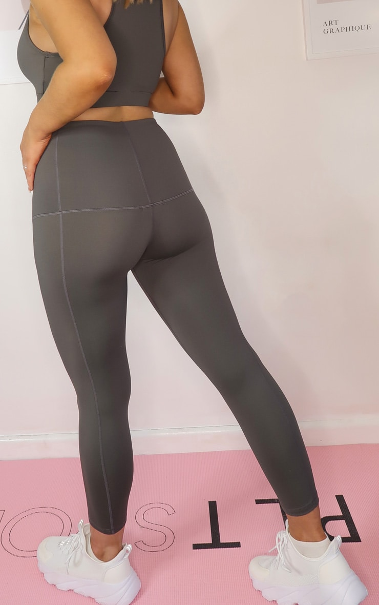 PRETTYLITTLETHING Maternity Grey Active Over Bump Leggings 3