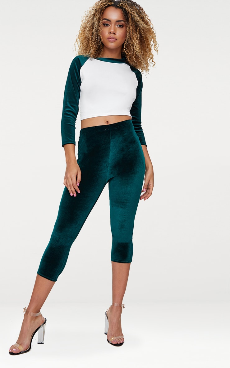 Bottle Green Contrast Raglan Velvet Sleeve Crop Top  4