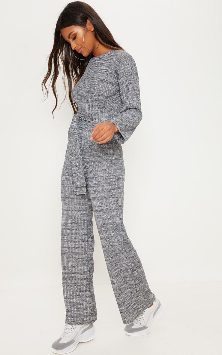Grey Rib Crew Neck Long Sleeve Jumpsuit 4