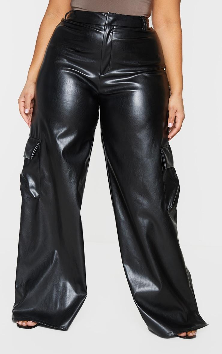 Plus Black PU Cargo Wide Leg Pants 2