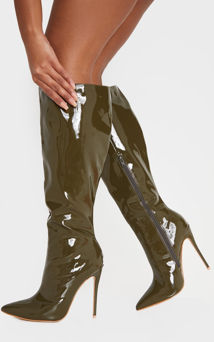 Khaki Point Toe Stiletto Knee High Boot 1