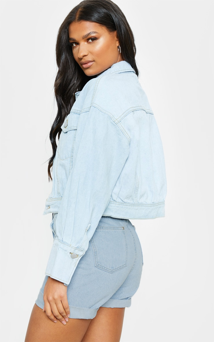 Light Wash Balloon Sleeve Denim Jacket  2