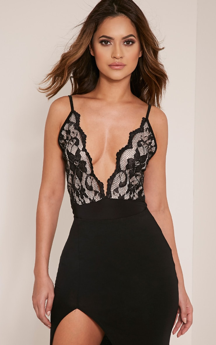 Angeline Black Deep Plunge Lace Thong Bodysuit 1