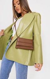 Chocolate Square Quilted Panel Cross Body Bag 1