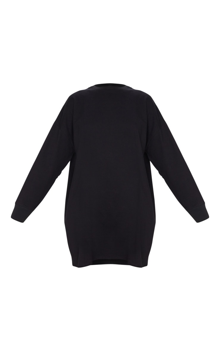 Black Oversized Long Sleeve Crew Neck T Shirt Dress 5