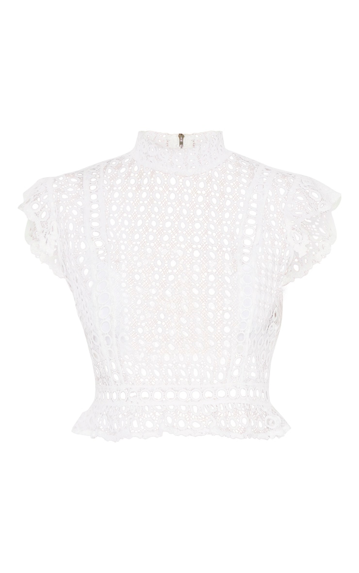 White Crochet High Neck Sleeveless Blouse 3